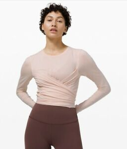 Lululemon gather and grow long sleeve tee size 8 feather pink nwt