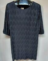 New MNG Mango Women's Scoop Neck Black Pleated Shift Dress 3/4 sleeve Size 8