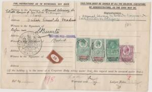 2127 GB Revenues KGV document with 3d, 1/-, 5/- & 10/- Consular Service stamps