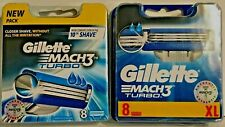 GILLETTE MACH 3 TURBO 2-PACKS OF 8=16 BLADES NEW & SEALED 100% GENUINE FREE P&P