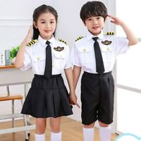 Children Pilot Costume Girls Flight Attendant Uniform Kids Chorus Apparel 1 Set