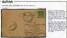 BURMA STATIONERY 9p to INDIA DEC 1940 NATTARASANKOTAI POSTMARK