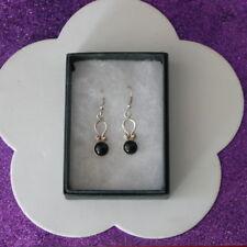 Elegant Silver Earrings With Onyx Gems 3.4 Gr. 2.5 Cm. Long + Hooks In Gift Box