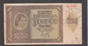 1000 KUNA VERY FINE BANKNOTE FROM NAZI GOVERNMENT OF CROATIA 1941 PICK-4