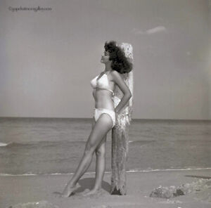 Bunny Yeager 1950s Camera Pin-up Negative Photograph Smiling Brunette in Bikini