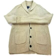 Gap Shawl Collared Chevron Knit Cardigan Sweater Button Up Tan Mens Size Small