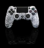 PS4 Controller original Playstation Custom Crackling Weiß / Schwarz