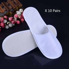 10 Pairs White Disposable Slippers Hotel Slippers SPA Slippers Guest YA9