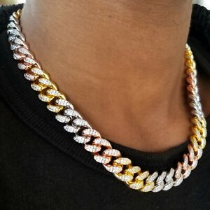 Multi Color Gold Plated Prong Lab Diamond Hip Hop Miami Cuban Link Chain Choker