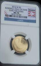 2014-W $5 Gold Baseball Hall of Fame Commemorative : NGC MS70