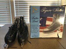 Size 10 Men's Leather Lined Black Ice Skates American Athletic Figure Skate Eu43