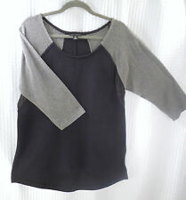 WILLI SMITH BLACK LARGE top L Gray mesh sleeves CASUAL UNIQUE TOP PULLOVER