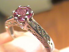 Silver RING  pink topaz 8 NATURAL STERLING 925 solitaire small delicate filigree