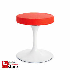 Replica Eero Saarinen Tulip Stool – Glossy White with Red Fabric Cushion