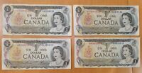 4 x 1973 $1 Bank of Canada REPLACEMENT Notes Lawson Bouey - Circulated