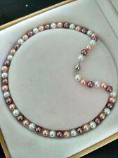 8MM Multicolor South Sea Shell Pearl necklace earrings set AAA Grade V22