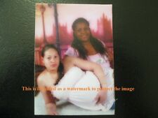 Vtg WALLET Portrait Photo Of African American Pregnant Lady Posing With Girl A13