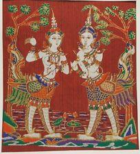 Dark Red Thai Art Silk Kinnaree and Kinnorn Painting Poster Print Home Decor