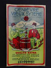 Ancienne étiquette GENIEVRE VIEUX STEME Closquet Bruxelles Moulin mill label