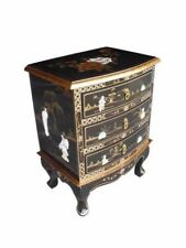 Pair of Oriental Chinese Black Lacquer 3 Drawer Chest Bedside Tables