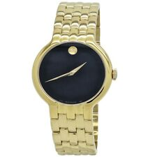 Movado 0606934 Veturi Stainless Steel Gold Plated Mens Watch - Yellow / Black