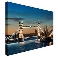HMS Belfast warship London Bridge Canvas Wall Art Picture Print