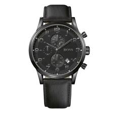Mens Hugo Boss Aeroliner Chronograph Watch Black Leather Strap - HB1512567