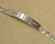 Men's Silver Plated Diamond Cut ID Bracelet Figaro Chain Large 8.5 inch long New