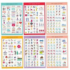 DIY 5 Sheets PVC Planner Labels Diary inserts Word Stickers Alphabet Craft