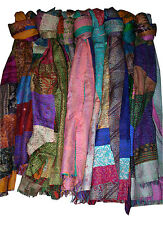 5Pcs Lot Vintage Kantha Silk Scarf Patchwork Stole Reversible Neck Wrap