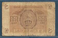 Libya, British Army Tripolitania Issue MPC 50 Lire, 1943, Pick M5, F-
