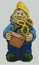 """Garden Gnome contato CROSS STITCH KIT 8.5 """"X 13,75"""" 21,5 cm x 35cm P2350"""