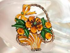 Super Beautiful Vintage 1940's Rhinestone Art Glass Enamel Flower Brooch    857m