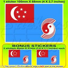SINGAPUR Luftwaffe RSAF 1973-90 Flagge Fahne 100mm Sticker, Aufkleber x1+2 BONUS