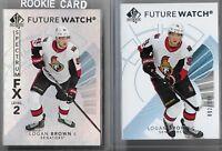 17-18 SP authentic Hockey Logan Brown Future Watch Lot 892,999 & Spectrum LV2