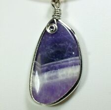 Amethyst Pendant (EA198) crystal gem stone purple mineral healing white plated