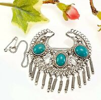 Vintage Sterling Silver Filigree & Turquoise Brooch