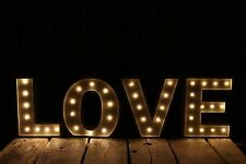 Large Vintage Style 24cm Carnival Led Light Up Marquee Letters - Love - Cream