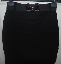 **PAPRIKA** Mini Black Bandage Party Skirt with Embellished Belt UK 6 EU34 BNWT