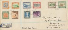 NIUE 1950, definitive postage stamps cpl. on R-FDC to AUCKLAND, New Zealand rare