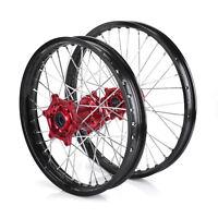 "For HONDA CR CRF125 250 450R/X 21"" 19"" MX Front Rear Wheels Black Rim Red Hub"