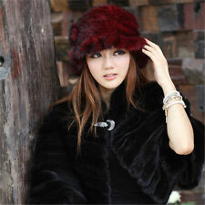 2017 Women's Knitted Mink Fur Crimping Dome Bow Cap Hat Sale Price Soft Hats