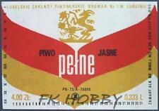 Poland Brewery Lublin Pełne Beer Label Bieretikett Etiqueta Cerveza lu36.1