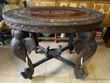 More details for antique anglo indian hand carved wooden elephant design table.