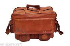 Men's Satchel Vintage look Leather Messenger Bag Shoulder Laptop Bag Briefcase,