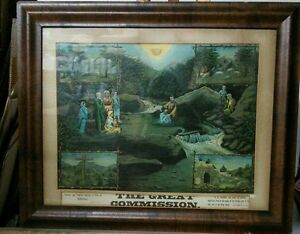 Vtg 20-30's Litho Framed Print THE GREAT COMMISSION Religious Missionary Baptism