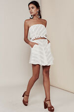 For Love & Lemons Women's Authentic Alessandra Mini Summer Skirt White M,BNWT
