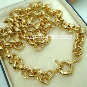 18k  gold vacuum plating belcher bolt ring Link mens womens solid necklace
