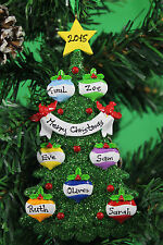 PERSONALISED CHRISTMAS TREE DECORATION ORNAMENT GREEN CHRISTMAS TREE FAMILY OF 7