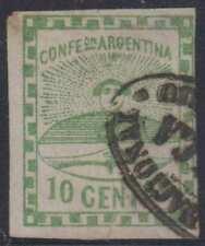 """ARGENTINA 1858 CONFEDERATION Sc 2 """"CORREO NACIONAL FRANCA DEL ROSARIO"""" SCV$90.00"""